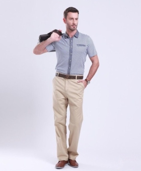 Cotton khaki business casual pants for men