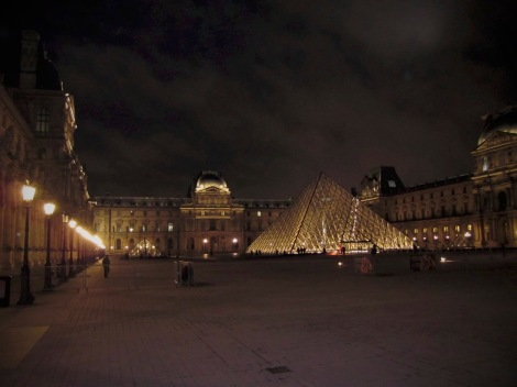 Nighttime at the Louvre.