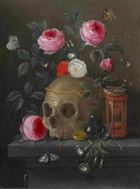 Jan van Kessel (Flemish, 1626 - 1679 ), Vanitas Still Life, c. 1665/1670, oil on copper, Gift of Maida and George Abrams