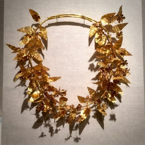 This is one of my favorite pieces, an actual golden laurel crown. I've never seen one before. I was enchanted and in great need of one.